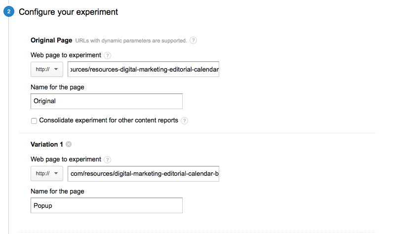 A/B testing guide: configure google experiment