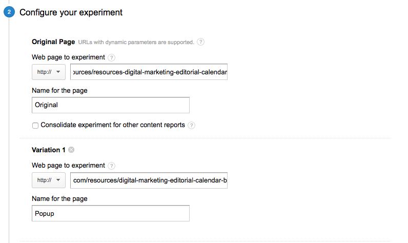 A/B testing guide: configure google experiment