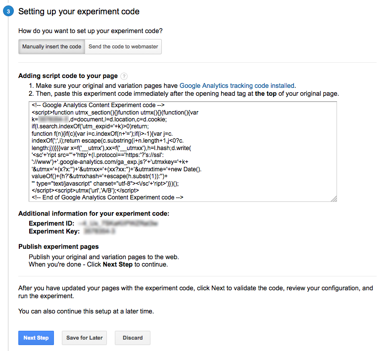 A/B testing guide: Google Experiments code output example